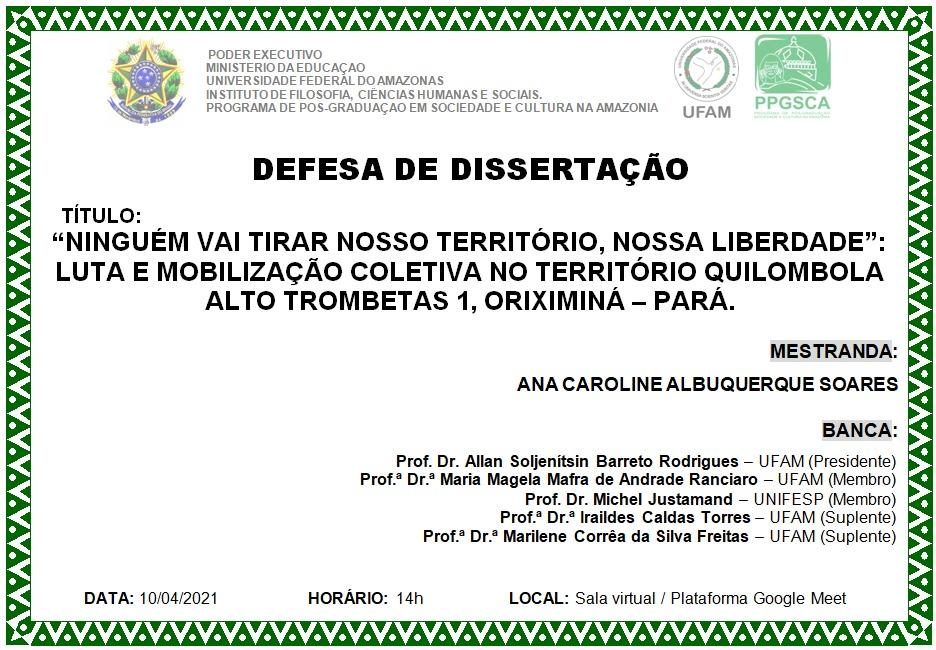 Defesa de Dissertação Ana Caroline Albuquerque Soares