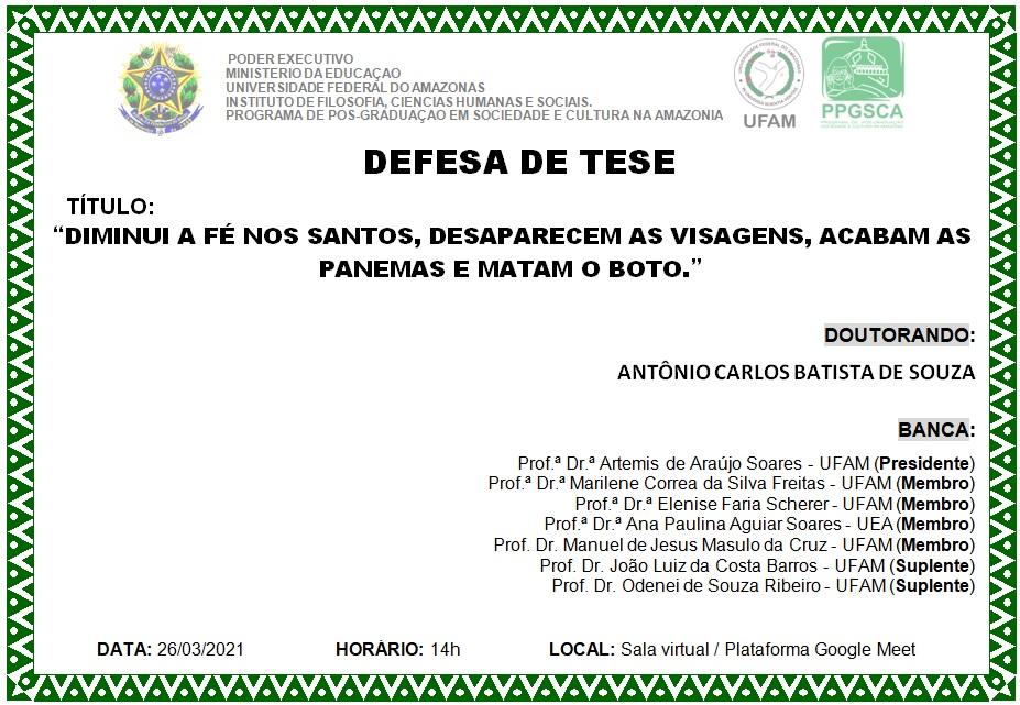 Defesa de dissertação Antônio Carlos