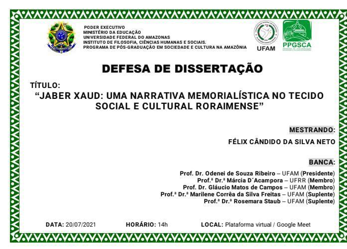 Defesa de Dissertação - Mestrando Félix Cândido
