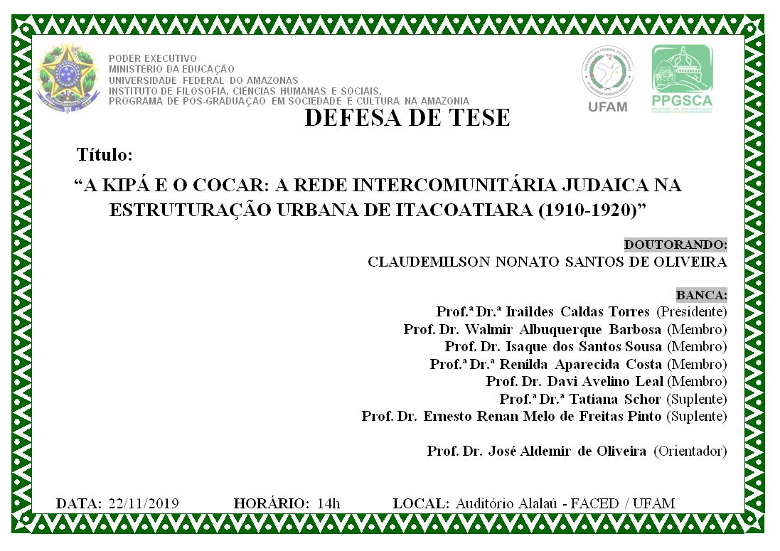 Defesa de Tese Claudemilson Nonato Santos de Oliveira