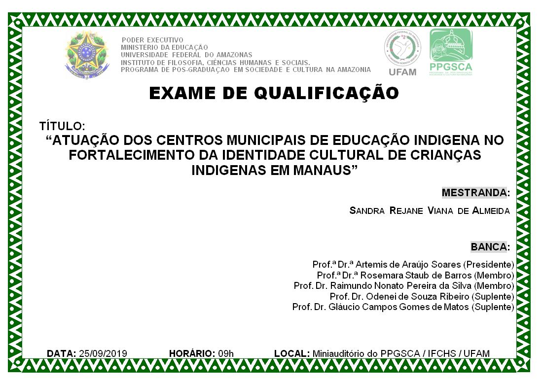 Qualificação Mestrado Sandra Rejane Viana de Almeida