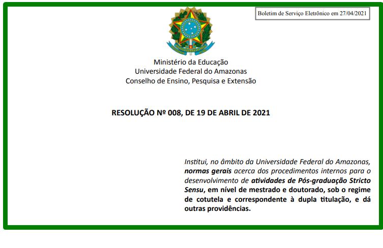 RESOLUÇÃO Nº 008, DE 19 DE ABRIL DE 2021